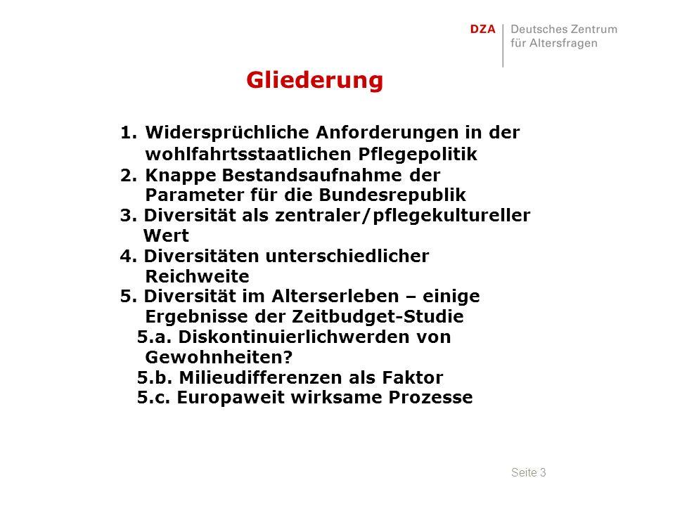 Seite 3 1.Widersprüchliche Anforderungen in der wohlfahrtsstaatlichen Pflegepolitik 2.Knappe Bestandsaufnahme der Parameter für die Bundesrepublik 3.