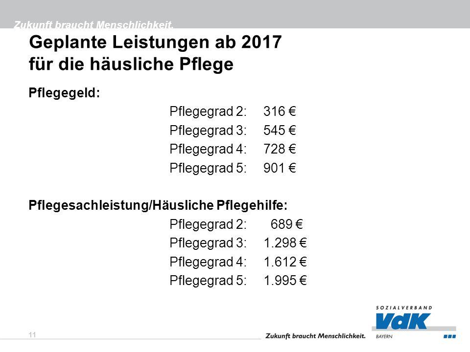 Zukunft braucht Menschlichkeit. Geplante Leistungen ab 2017 für die häusliche Pflege Pflegegeld: Pflegegrad 2:316 € Pflegegrad 3: 545 € Pflegegrad 4:7