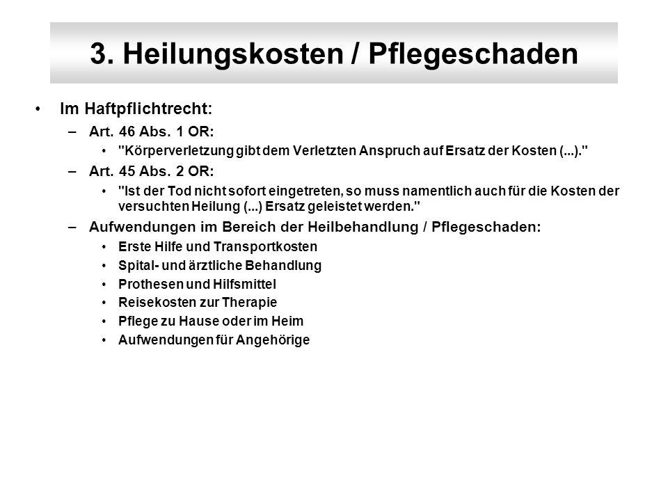 3. Heilungskosten / Pflegeschaden Im Haftpflichtrecht: –Art. 46 Abs. 1 OR: