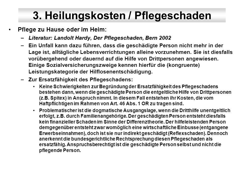 3. Heilungskosten / Pflegeschaden Pflege zu Hause oder im Heim: –Literatur: Landolt Hardy, Der Pflegeschaden, Bern 2002 –Ein Unfall kann dazu führen,
