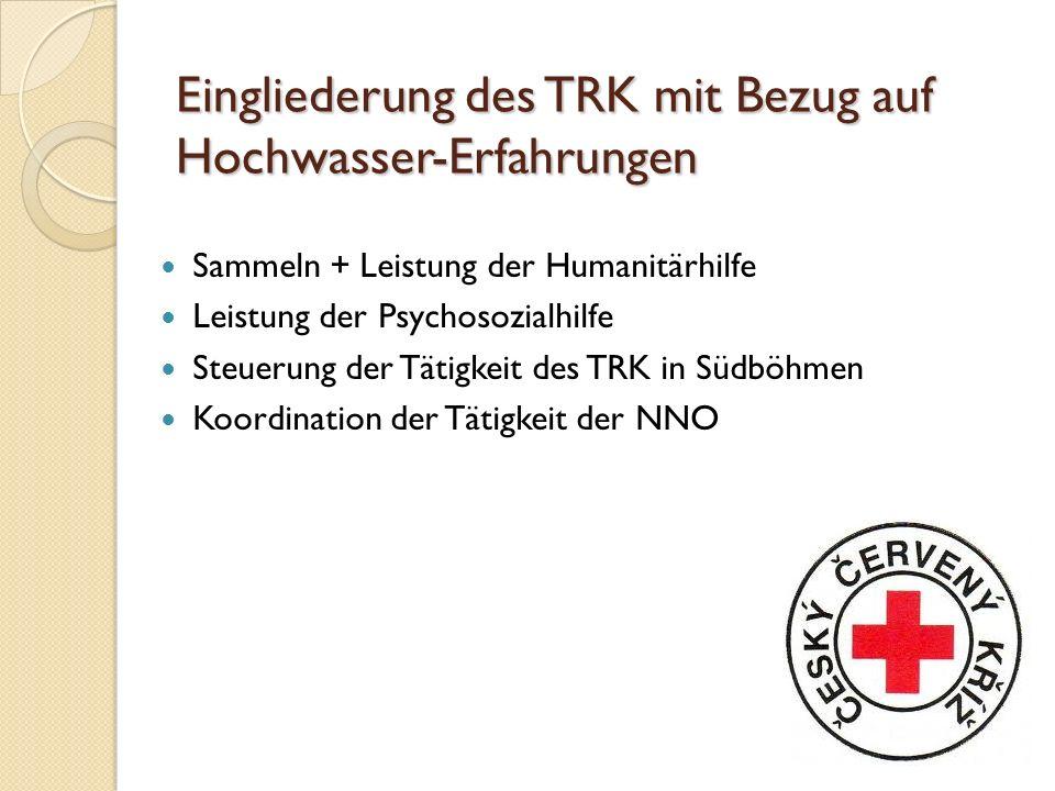 Eingliederung des TRK mit Bezug auf Hochwasser-Erfahrungen Sammeln + Leistung der Humanitärhilfe Leistung der Psychosozialhilfe Steuerung der Tätigkeit des TRK in Südböhmen Koordination der Tätigkeit der NNO
