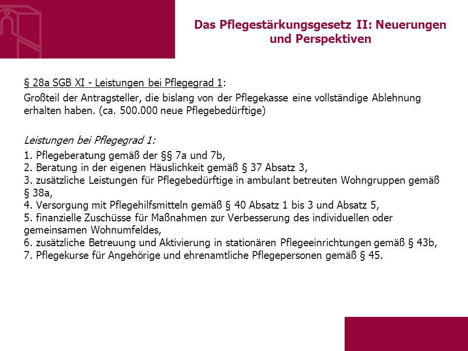 Das Pflegestärkungsgesetz II: Neuerungen und Perspektiven § 28a SGB XI - Leistungen bei Pflegegrad 1: Großteil der Antragsteller, die bislang von der Pflegekasse eine vollständige Ablehnung erhalten haben.