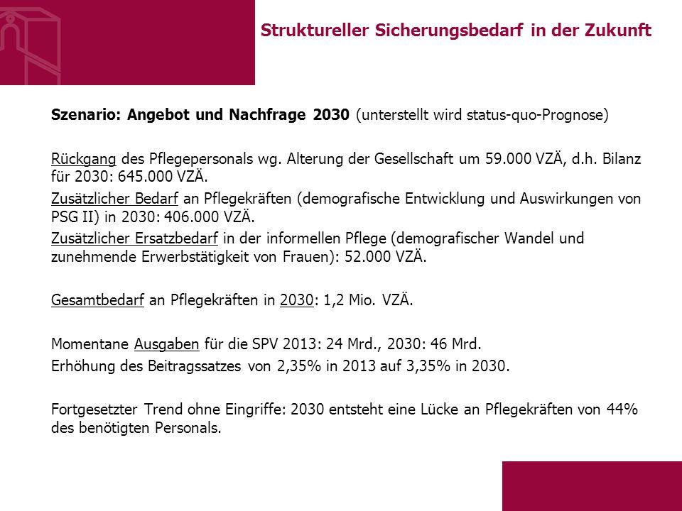 Struktureller Sicherungsbedarf in der Zukunft Szenario: Angebot und Nachfrage 2030 (unterstellt wird status-quo-Prognose) Rückgang des Pflegepersonals