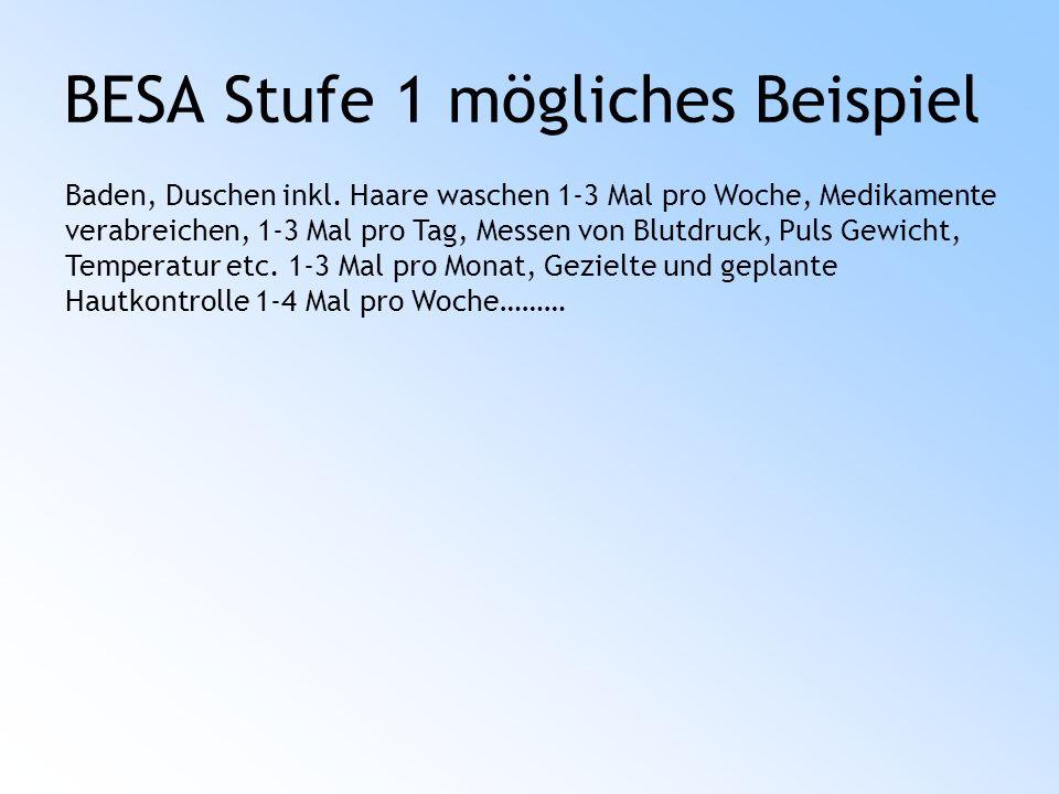 BESA Stufe 1 mögliches Beispiel Baden, Duschen inkl.