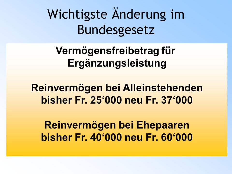 Wichtigste Änderung im Bundesgesetz Vermögensfreibetrag für Ergänzungsleistung Reinvermögen bei Alleinstehenden bisher Fr.