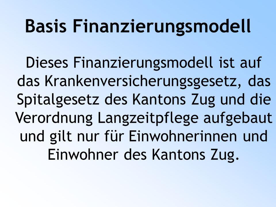 Basis Finanzierungsmodell Dieses Finanzierungsmodell ist auf das Krankenversicherungsgesetz, das Spitalgesetz des Kantons Zug und die Verordnung Langzeitpflege aufgebaut und gilt nur für Einwohnerinnen und Einwohner des Kantons Zug.