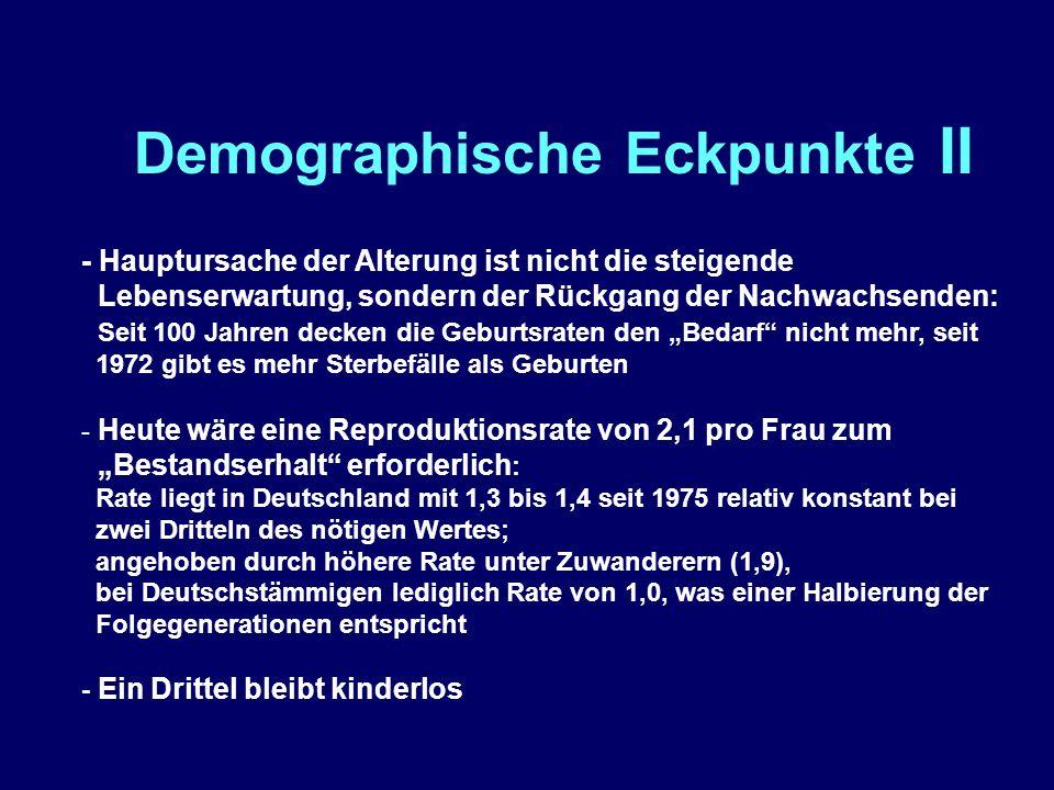 """Demographische Eckpunkte II - Hauptursache der Alterung ist nicht die steigende Lebenserwartung, sondern der Rückgang der Nachwachsenden: Seit 100 Jahren decken die Geburtsraten den """"Bedarf nicht mehr, seit 1972 gibt es mehr Sterbefälle als Geburten - Heute wäre eine Reproduktionsrate von 2,1 pro Frau zum """"Bestandserhalt erforderlich : Rate liegt in Deutschland mit 1,3 bis 1,4 seit 1975 relativ konstant bei zwei Dritteln des nötigen Wertes; angehoben durch höhere Rate unter Zuwanderern (1,9), bei Deutschstämmigen lediglich Rate von 1,0, was einer Halbierung der Folgegenerationen entspricht - Ein Drittel bleibt kinderlos"""