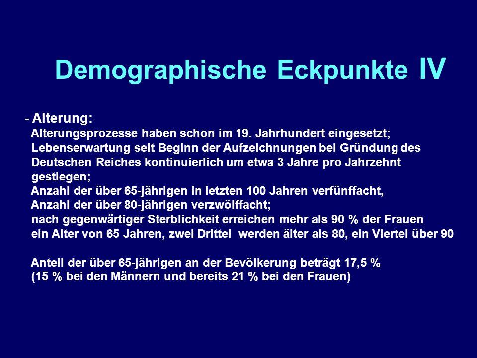 Demographische Eckpunkte IV - Alterung: Alterungsprozesse haben schon im 19.