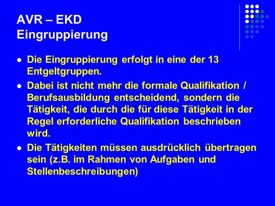 AVR – EKD Eingruppierung Die Eingruppierung erfolgt in eine der 13 Entgeltgruppen.