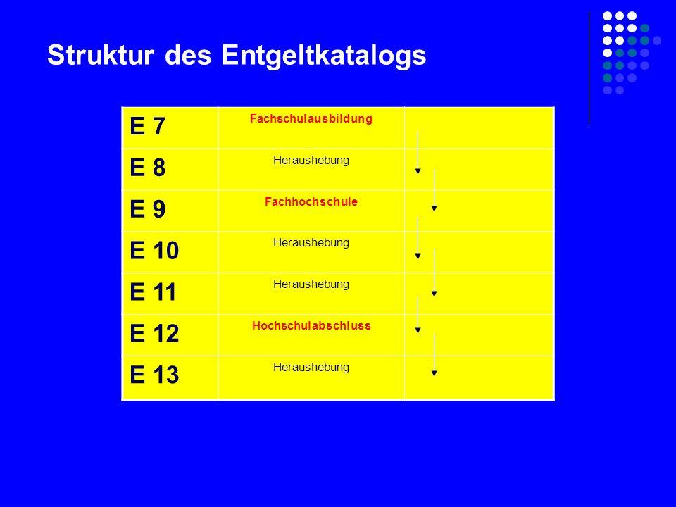 E 7 Fachschulausbildung E 8 Heraushebung E 9 Fachhochschule E 10 Heraushebung E 11 Heraushebung E 12 Hochschulabschluss E 13 Heraushebung