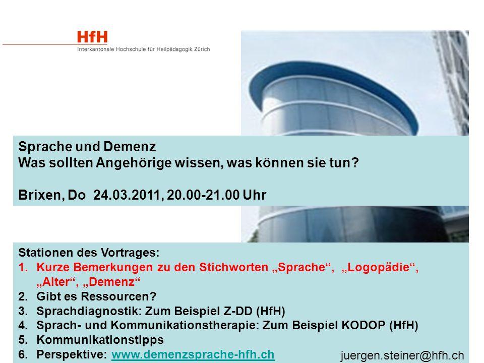 """Stationen des Vortrages: 1.Kurze Bemerkungen zu den Stichworten """"Sprache , """"Logopädie , """"Alter , """"Demenz 2.Gibt es Ressourcen."""