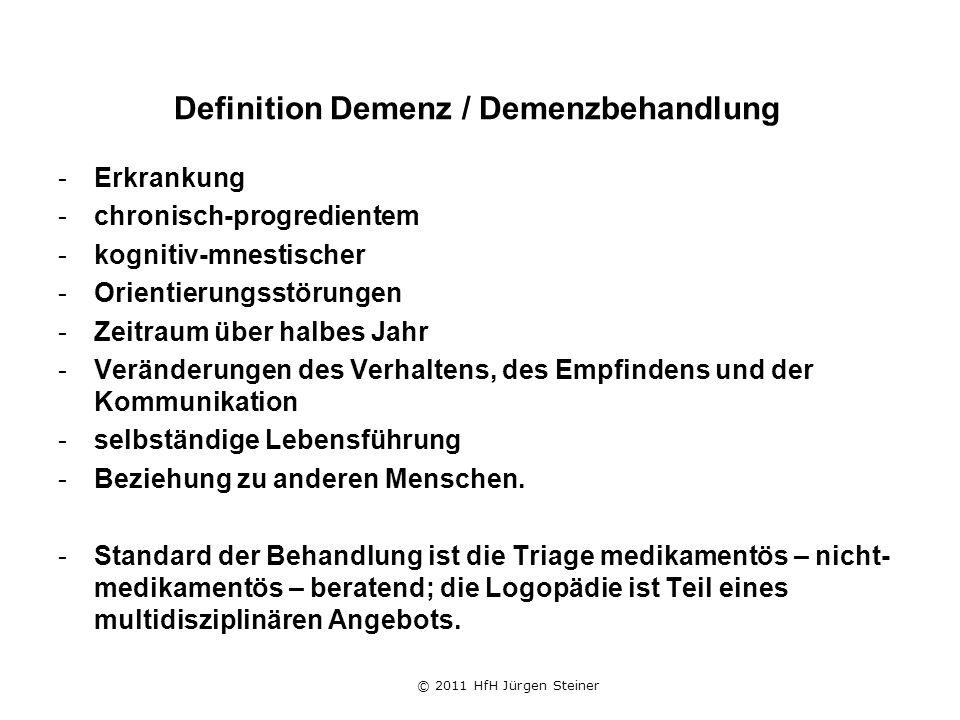 Definition Demenz / Demenzbehandlung -Erkrankung -chronisch-progredientem -kognitiv-mnestischer -Orientierungsstörungen -Zeitraum über halbes Jahr -Veränderungen des Verhaltens, des Empfindens und der Kommunikation -selbständige Lebensführung -Beziehung zu anderen Menschen.