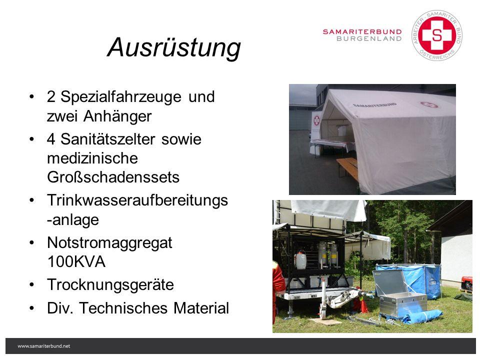 Ausrüstung 2 Spezialfahrzeuge und zwei Anhänger 4 Sanitätszelter sowie medizinische Großschadenssets Trinkwasseraufbereitungs -anlage Notstromaggregat