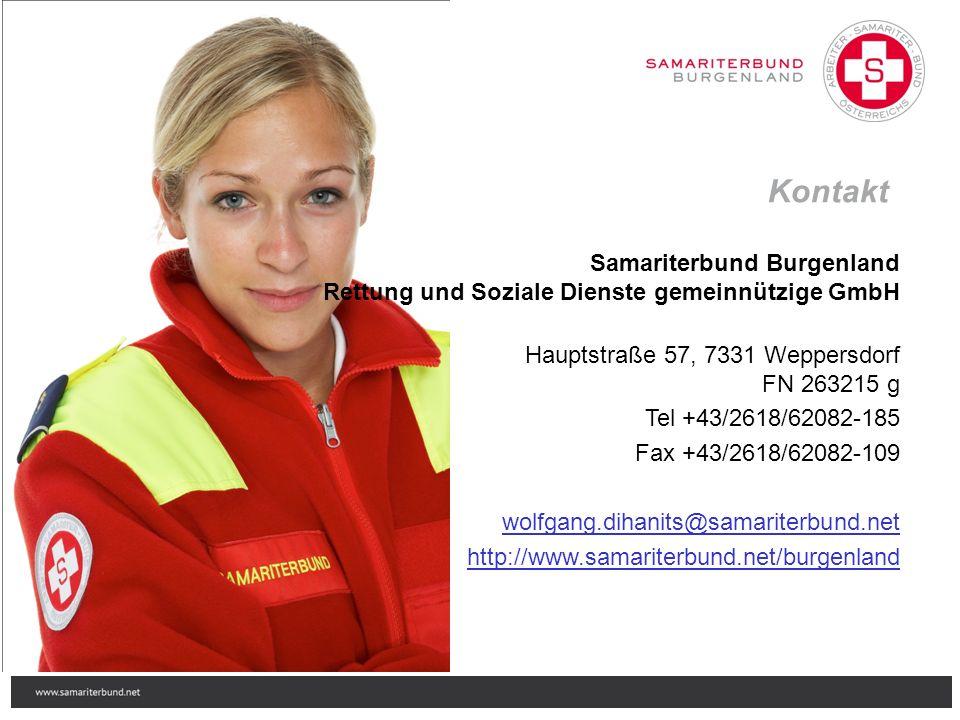 Samariterbund Burgenland Rettung und Soziale Dienste gemeinnützige GmbH Hauptstraße 57, 7331 Weppersdorf FN 263215 g Tel +43/2618/62082-185 Fax +43/2618/62082-109 wolfgang.dihanits@samariterbund.net http://www.samariterbund.net/burgenland Kontakt