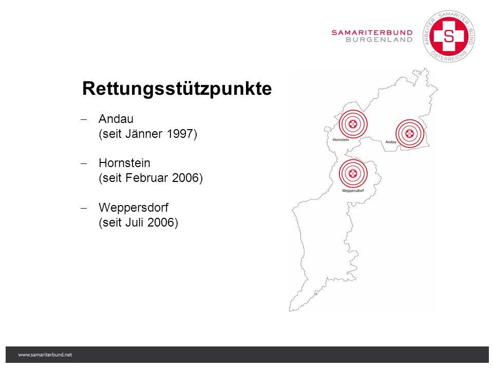 Rettungsstützpunkte  Andau (seit Jänner 1997)  Hornstein (seit Februar 2006)  Weppersdorf (seit Juli 2006)