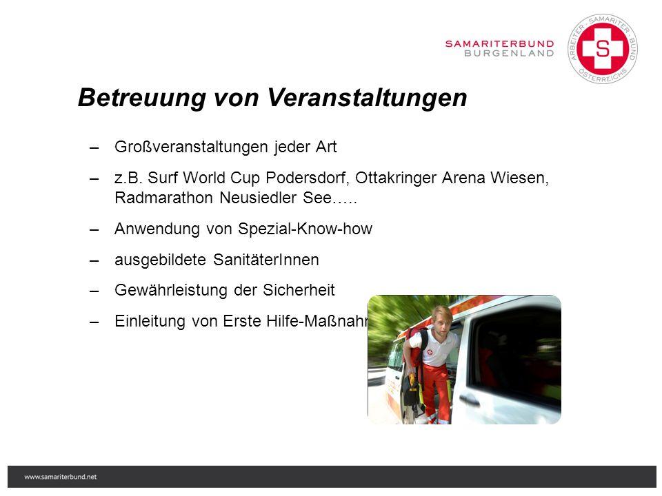 Betreuung von Veranstaltungen – Großveranstaltungen jeder Art – z.B. Surf World Cup Podersdorf, Ottakringer Arena Wiesen, Radmarathon Neusiedler See….