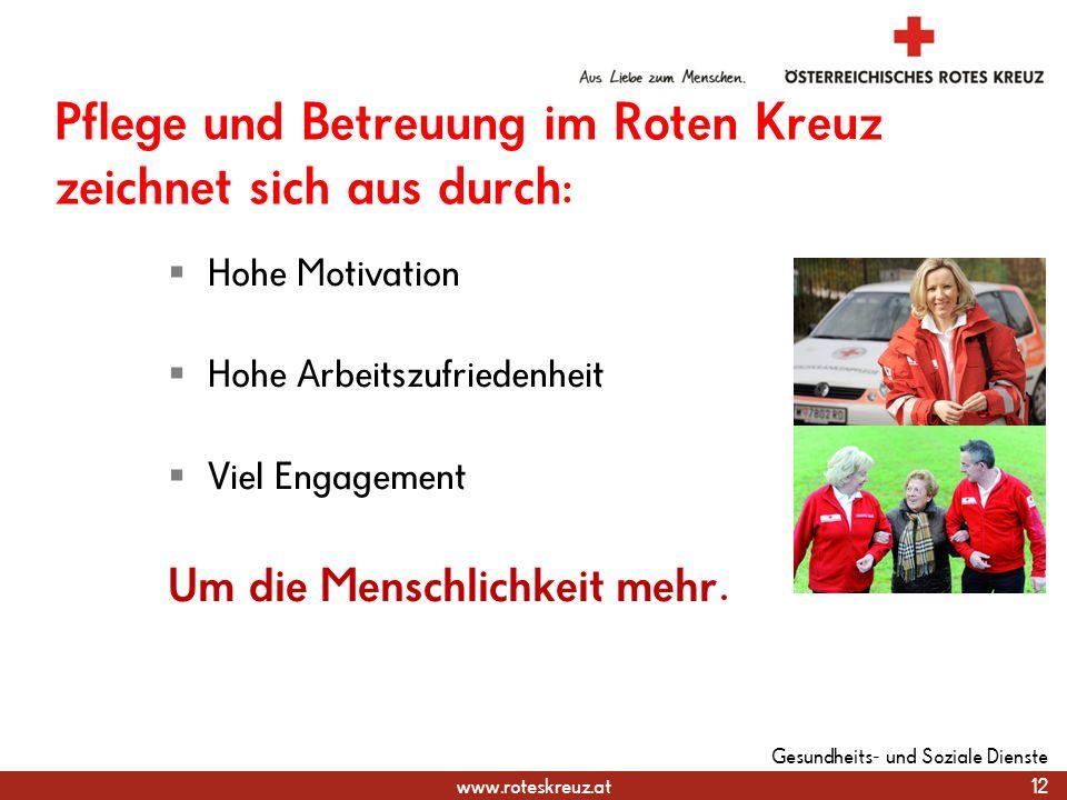 www.roteskreuz.at Pflege und Betreuung im Roten Kreuz zeichnet sich aus durch:  Hohe Motivation  Hohe Arbeitszufriedenheit  Viel Engagement Um die Menschlichkeit mehr.