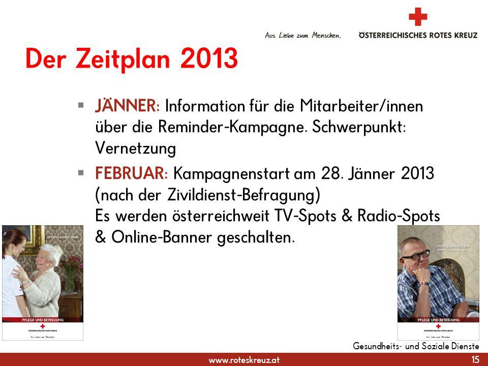 www.roteskreuz.at Der Zeitplan 2013  JÄNNER: Information für die Mitarbeiter/innen über die Reminder-Kampagne.