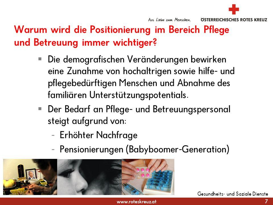 www.roteskreuz.at Warum wird die Positionierung im Bereich Pflege und Betreuung immer wichtiger.