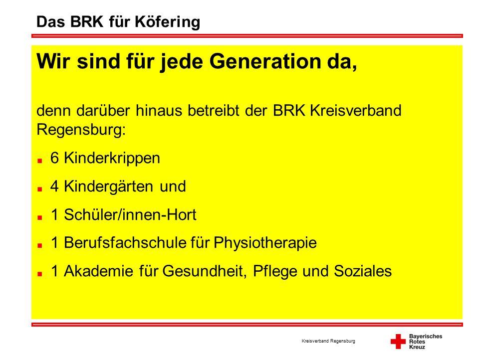Kreisverband Regensburg Das BRK für Köfering Wir sind für jede Generation da, denn darüber hinaus betreibt der BRK Kreisverband Regensburg: 6 Kinderkrippen 4 Kindergärten und 1 Schüler/innen-Hort 1 Berufsfachschule für Physiotherapie 1 Akademie für Gesundheit, Pflege und Soziales