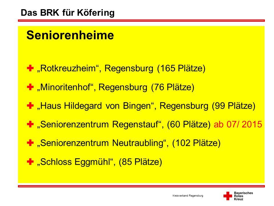 "Kreisverband Regensburg Das BRK für Köfering Seniorenheime  ""Rotkreuzheim , Regensburg (165 Plätze)  ""Minoritenhof , Regensburg (76 Plätze)  ""Haus Hildegard von Bingen , Regensburg (99 Plätze)  ""Seniorenzentrum Regenstauf , (60 Plätze) ab 07/ 2015  ""Seniorenzentrum Neutraubling , (102 Plätze)  ""Schloss Eggmühl , (85 Plätze)"