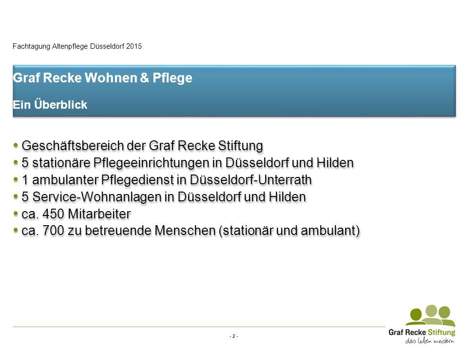 - 2 - Fachtagung Altenpflege Düsseldorf 2015 Graf Recke Wohnen & Pflege Ein Überblick Geschäftsbereich der Graf Recke Stiftung 5 stationäre Pflegeeinr
