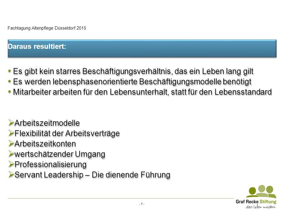- 7 - Fachtagung Altenpflege Düsseldorf 2015 Daraus resultiert: Es gibt kein starres Beschäftigungsverhältnis, das ein Leben lang gilt Es werden leben