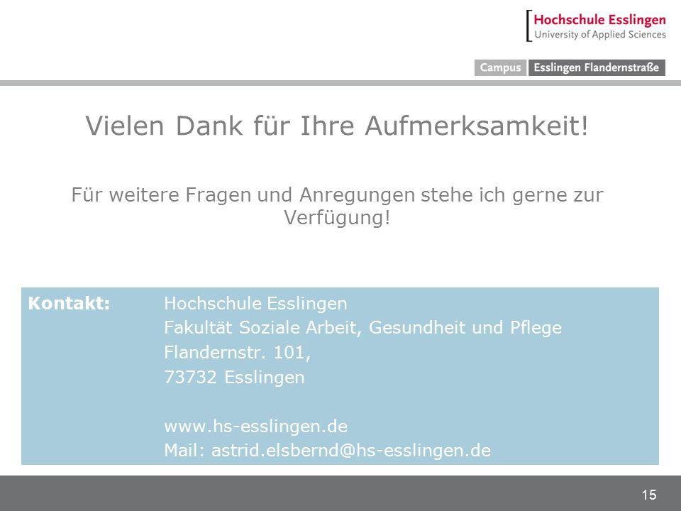 15 Vielen Dank für Ihre Aufmerksamkeit! Für weitere Fragen und Anregungen stehe ich gerne zur Verfügung! Kontakt: Hochschule Esslingen Fakultät Sozial