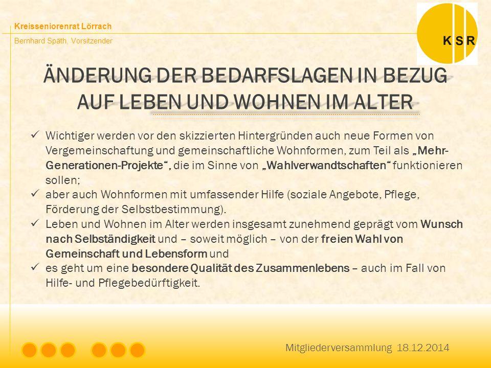 Kreisseniorenrat Lörrach Bernhard Späth, Vorsitzender ÄNDERUNG DER BEDARFSLAGEN IN BEZUG AUF LEBEN UND WOHNEN IM ALTER Mitgliederversammlung 18.12.201
