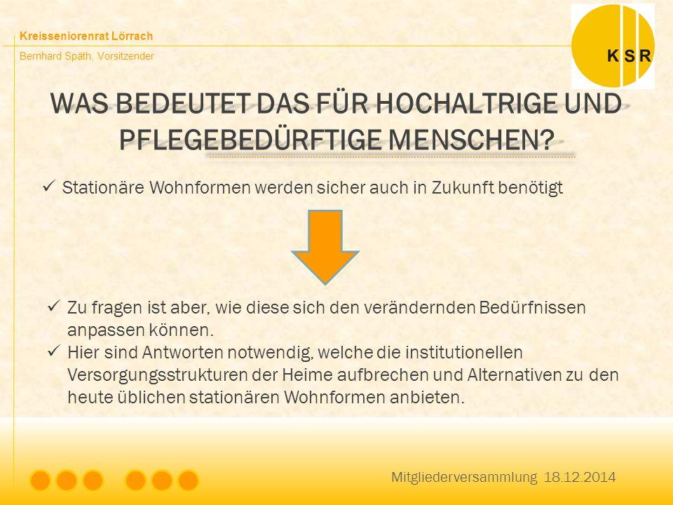 Kreisseniorenrat Lörrach Bernhard Späth, Vorsitzender WAS BEDEUTET DAS FÜR HOCHALTRIGE UND PFLEGEBEDÜRFTIGE MENSCHEN? Mitgliederversammlung 18.12.2014