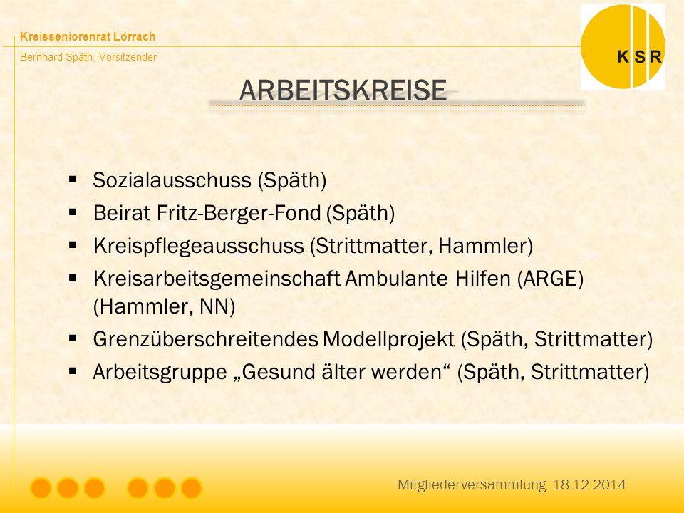 Kreisseniorenrat Lörrach Bernhard Späth, Vorsitzender ARBEITSKREISE  Sozialausschuss (Späth)  Beirat Fritz-Berger-Fond (Späth)  Kreispflegeausschus