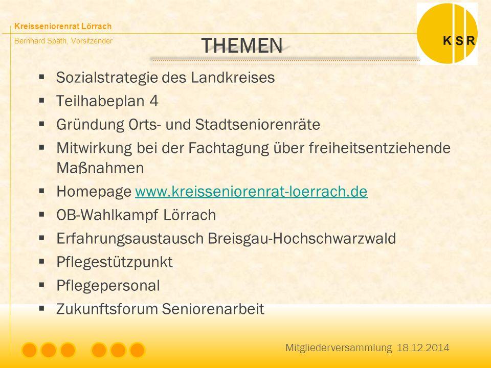 Kreisseniorenrat Lörrach Bernhard Späth, Vorsitzender THEMEN  Sozialstrategie des Landkreises  Teilhabeplan 4  Gründung Orts- und Stadtseniorenräte