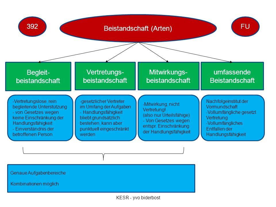 Beistandschaft (Arten) Begleit- beistandschaft Vertretungs- beistandschaft Mitwirkungs- beistandschaft umfassende Beistandschaft -Vertretungslose, rei