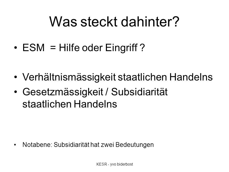 Was steckt dahinter? ESM = Hilfe oder Eingriff ? Verhältnismässigkeit staatlichen Handelns Gesetzmässigkeit / Subsidiarität staatlichen Handelns Notab