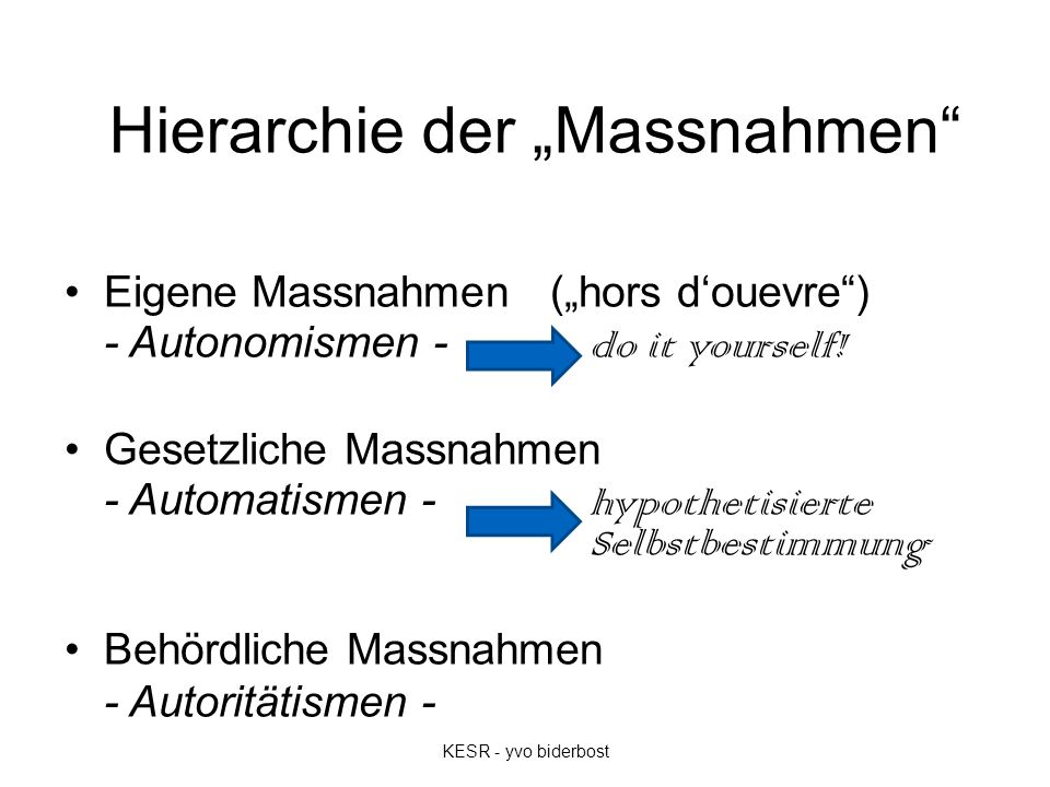 """Hierarchie der """"Massnahmen"""" Eigene Massnahmen (""""hors d'ouevre"""") - Autonomismen - do it yourself! Gesetzliche Massnahmen - Automatismen - hypothetisier"""