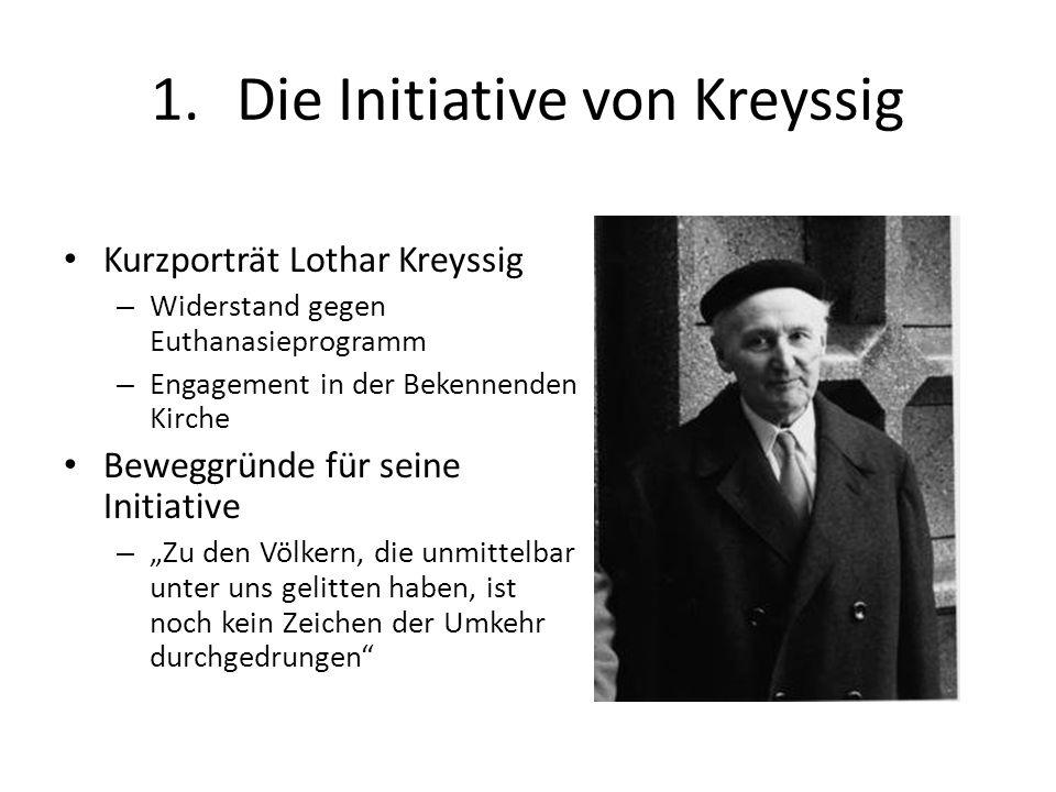 1.Die Initiative von Kreyssig Kurzporträt Lothar Kreyssig – Widerstand gegen Euthanasieprogramm – Engagement in der Bekennenden Kirche Beweggründe für