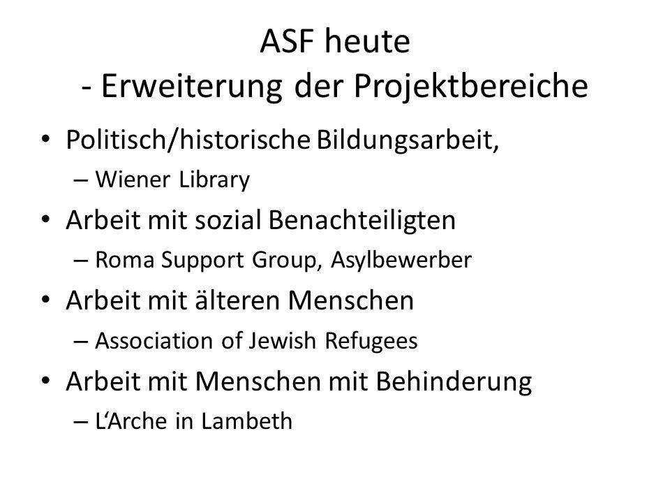 ASF heute - Erweiterung der Projektbereiche Politisch/historische Bildungsarbeit, – Wiener Library Arbeit mit sozial Benachteiligten – Roma Support Gr