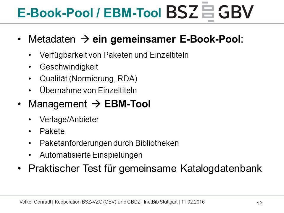 12 Metadaten  ein gemeinsamer E-Book-Pool : Verfügbarkeit von Paketen und Einzeltiteln Geschwindigkeit Qualität (Normierung, RDA) Übernahme von Einze