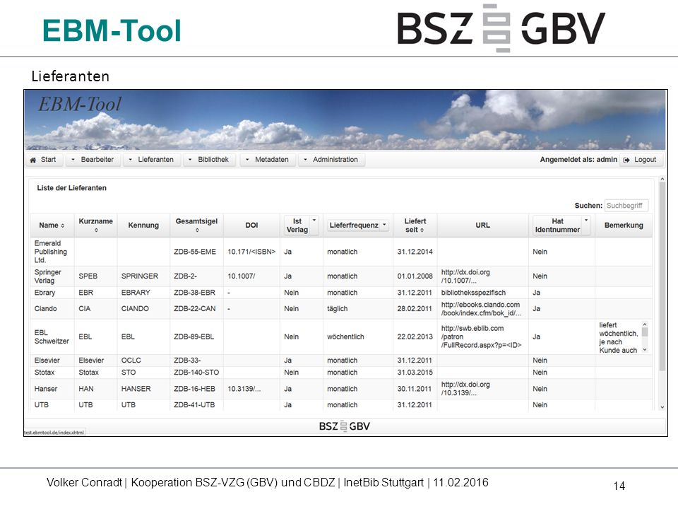 14 EBM-Tool Lieferanten Volker Conradt | Kooperation BSZ-VZG (GBV) und CBDZ | InetBib Stuttgart | 11.02.2016