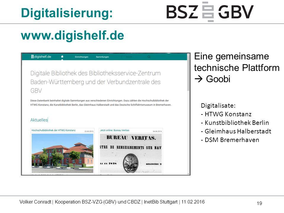 19 www.digishelf.de Eine gemeinsame technische Plattform  Goobi Digitalisate: - HTWG Konstanz - Kunstbibliothek Berlin - Gleimhaus Halberstadt - DSM