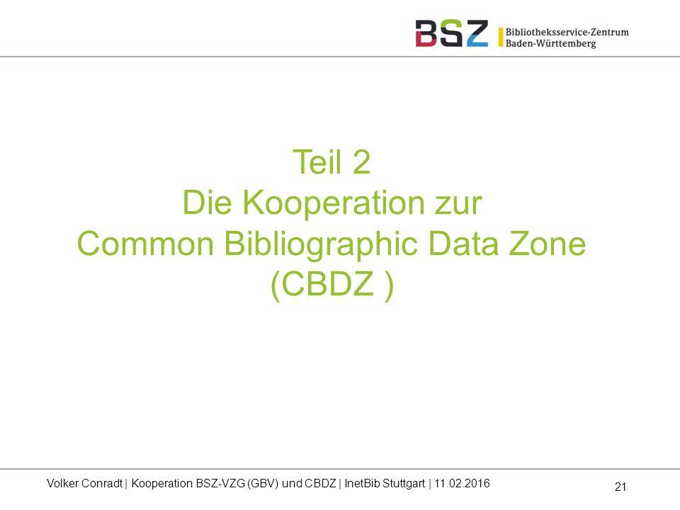 21 Volker Conradt | Kooperation BSZ-VZG (GBV) und CBDZ | InetBib Stuttgart | 11.02.2016 Teil 2 Die Kooperation zur Common Bibliographic Data Zone (CBD