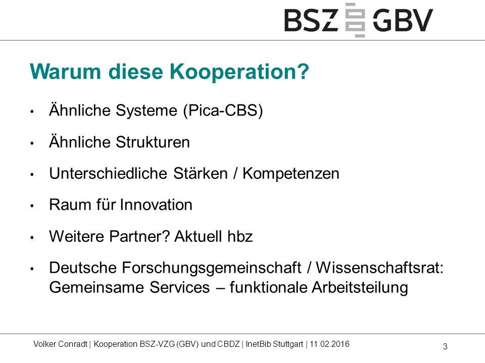 3 Warum diese Kooperation? Volker Conradt | Kooperation BSZ-VZG (GBV) und CBDZ | InetBib Stuttgart | 11.02.2016 Ähnliche Systeme (Pica-CBS) Ähnliche S