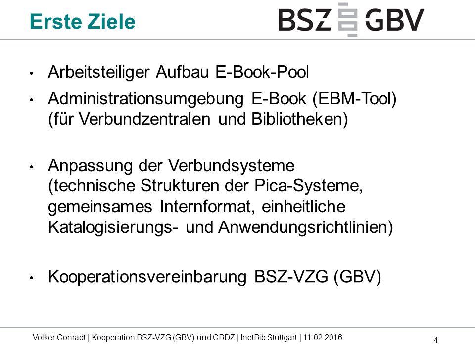 4 Erste Ziele Arbeitsteiliger Aufbau E-Book-Pool Administrationsumgebung E-Book (EBM-Tool) (für Verbundzentralen und Bibliotheken) Anpassung der Verbu
