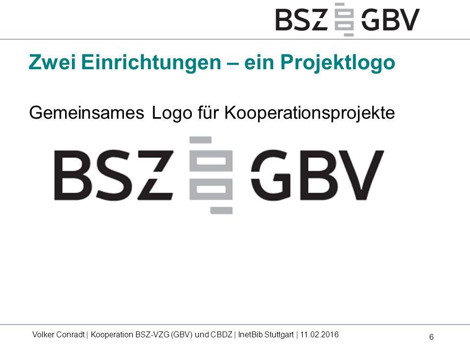 6 Gemeinsames Logo für Kooperationsprojekte Zwei Einrichtungen – ein Projektlogo Volker Conradt | Kooperation BSZ-VZG (GBV) und CBDZ | InetBib Stuttga