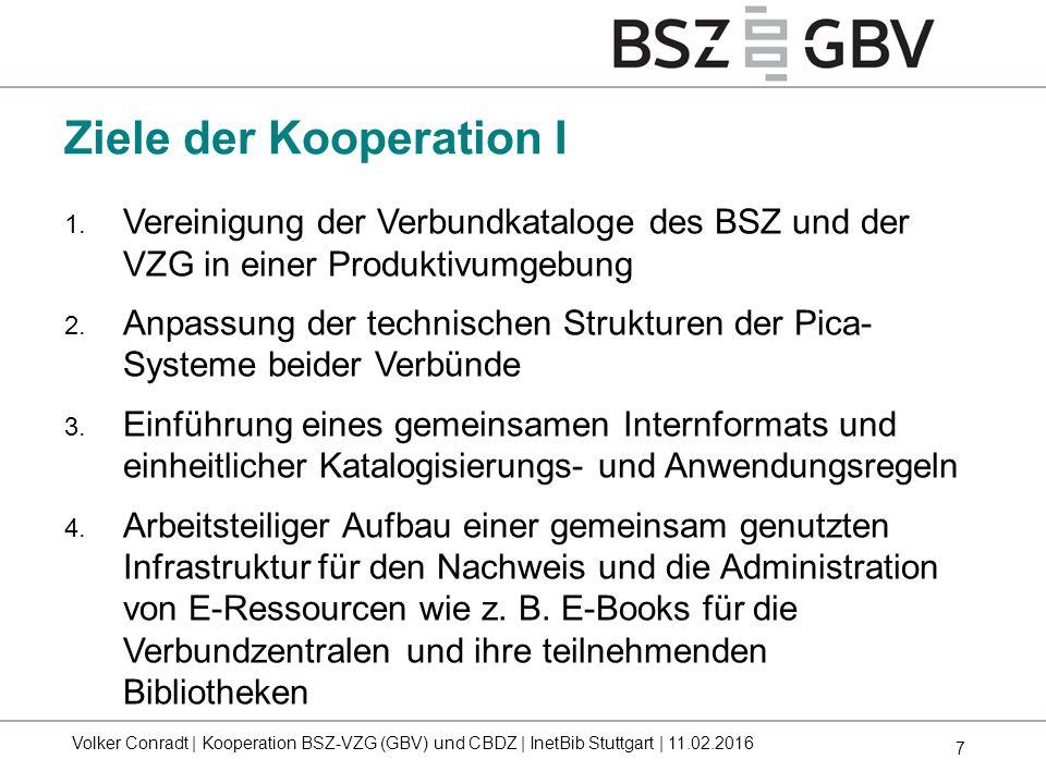 7 Ziele der Kooperation I 1. Vereinigung der Verbundkataloge des BSZ und der VZG in einer Produktivumgebung 2. Anpassung der technischen Strukturen de