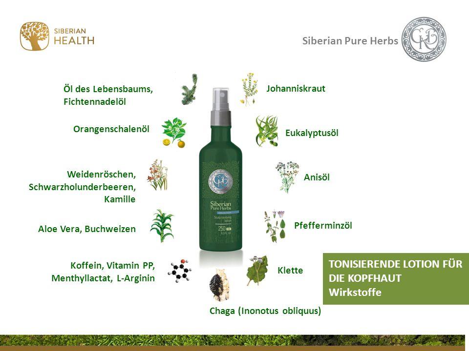 Siberian Pure Herbs TONISIERENDE LOTION FÜR DIE KOPFHAUT Wirkstoffe Chaga (Inonotus obliquus) Eukalyptusöl Johanniskraut Klette Pfefferminzöl Anisöl Ö