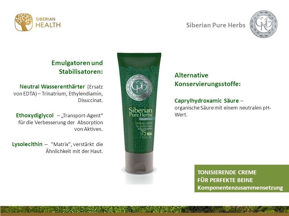 Siberian Pure Herbs Alternative Konservierungsstoffe: Caprylhydroxamic Säure – organische Säure mit einem neutralen pH- Wert. Emulgatoren und Stabilis