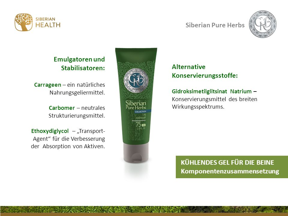 Siberian Pure Herbs Alternative Konservierungsstoffe: Gidroksimetilglitsinat Natrium – Konservierungsmittel des breiten Wirkungsspektrums. Emulgatoren