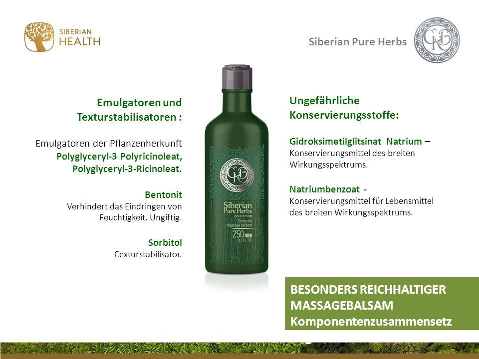 Siberian Pure Herbs Ungefährliche Konservierungsstoffe: Gidroksimetilglitsinat Natrium – Konservierungsmittel des breiten Wirkungsspektrums. Natriumbe