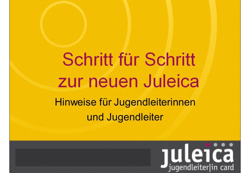 Stand: April 2010Anleitung für die Antragstellung2 Startseite von www.juleica.de aufrufenwww.juleica.de Beantragung der Juleica Voraussetzungen: Von jedem PC mit Internetzugang digitales Passfoto E-Mail-Adresse Bitte prüfen, ob im Browser Cookies zugelassen sind.